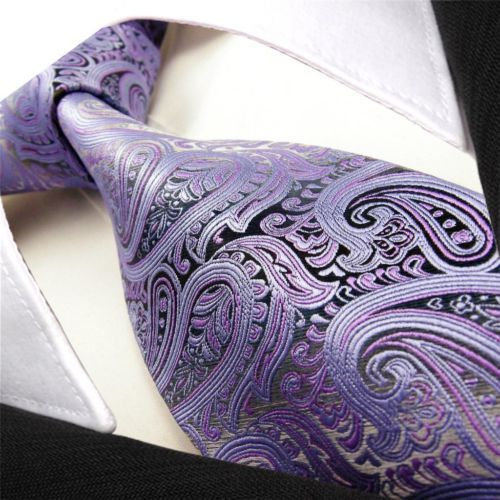 C20 Paisley Purple Silver Multicolor Mens Tie Neckties 100% Silk Jacquard Woven