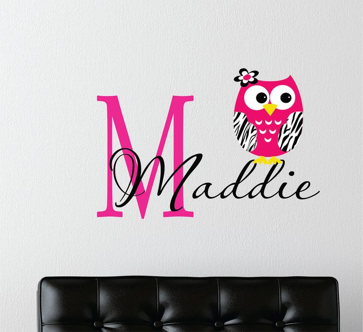 Childrens Decor Zebra Owl Wall Decal with Name -  Baby Nursery Wall Art -Girls Teen Bedroom - Childrens Wall Decals - Zebra Jungle Decals. $27.00, via Etsy. Ok, I want this for my room!!!!