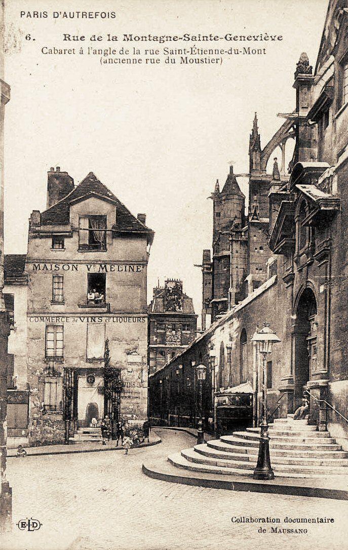 rue de la Montagne-Sainte-Geneviève - Paris 5ème Le haut de la rue de la Montagne-Sainte-Geneviève, au coin de la rue Saint-Etienne-du-Mont, vers 1900.