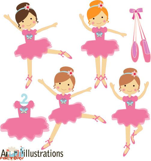 Pink little ballerina dancing  tutu graphics by ArtinspireFactory, $6.00
