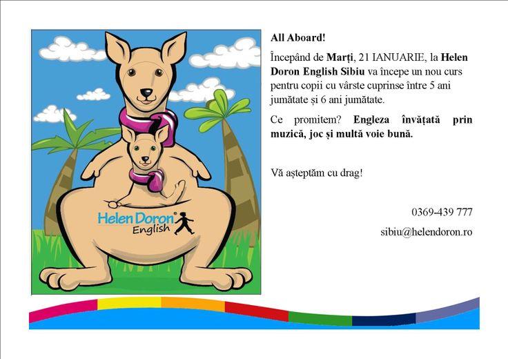 #Helen #Doron Sibiu dă startul unui nou curs English for All Children, un curs clasic prin metoda Helen Doron destinat copiilor cu vârste cuprinse între 5 ani jumătate și 6 ani jumătate.   Ce promitem? Învățarea limbii engleze asemeni limbii materne, printr-o metodă interactivă, în grupuri mici și într-o atmosferă  plăcută, plină de voie bună!