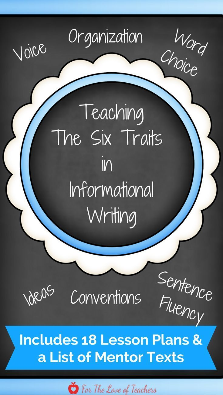 This bundle includes 18 lessons plans that teach the six traits of writing (ideas, organization, voice, sentence fluency, word choice, and conventions) and is intended for grades K-5 within informational writing. These lesson plans were developed as a res