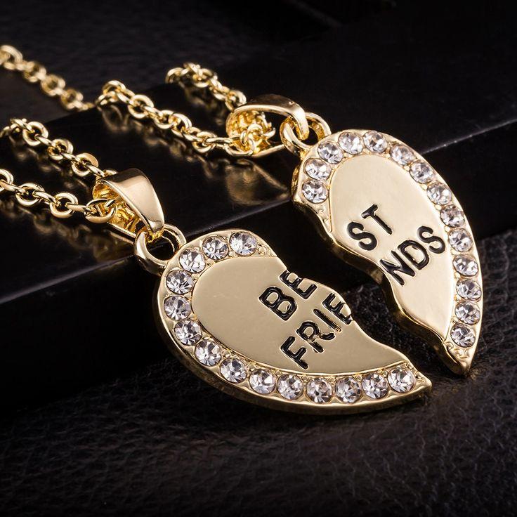 2 Pcs Korean Fashion Jewelry Split Diamond Heart Pendant gold - Tomtop.com
