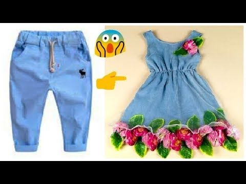 d782773b2cb5 Transform Old Jeans To Designer Baby Frock Cutting And Stitching ...