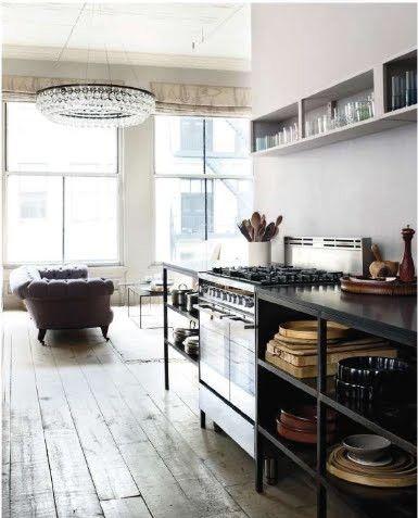 Perfect loft space and light: Kitchens Shelves, Kitchens Design, Open Shelves, Lights Fixtures, Kitchens Inspiration, Industrial Kitchens, Design Kitchens, Modern Kitchens, Open Kitchens