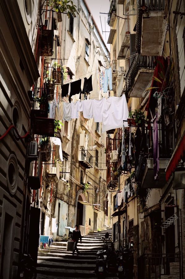 Street and stairs in the historical center of Naples
