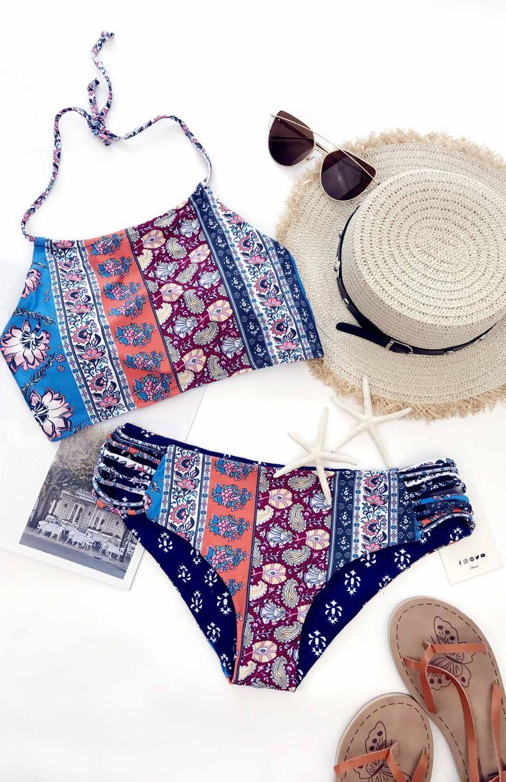 $19.99 Chicnico Boho Sexy Cross Side Floral Print Bikini Set