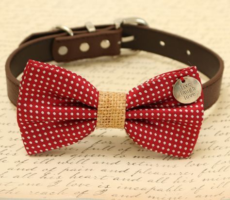 Red Dog Bow Tie, Burlap bow tie, Bow tie attached to brown dog collar, Bow with charm, Live,Laugh, Love,Christmas gift, dog lovers,cute gift