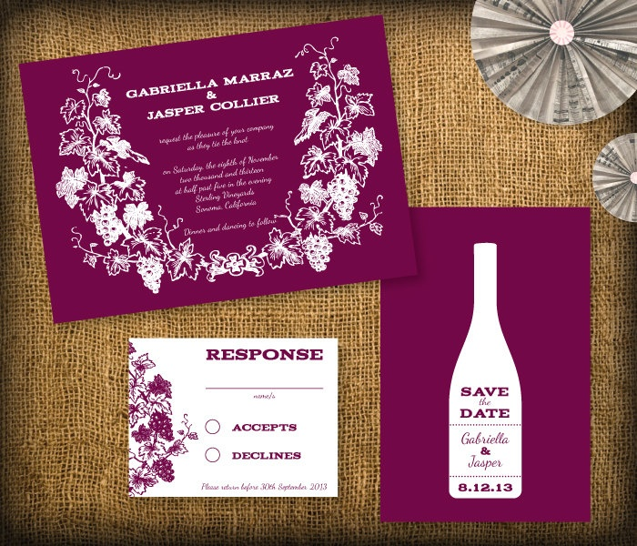 Winery Wedding Invitation DIY Set (printable) - Invitation, RSVP & Save the Date. $25.00, via Etsy.