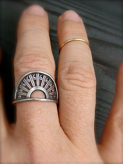 deco  sterling silver ring by sirenjewels