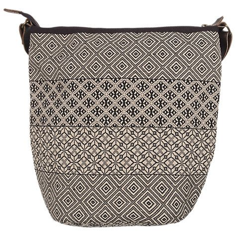 Buy Fat Face Dani Patchwork Cross Body Bag, Black Online at johnlewis.com