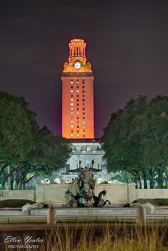 University of Texas: Orange Tower, if it glows orange we won, and many a time we see a number 1 in the middle when we are No. 1 in the nation.