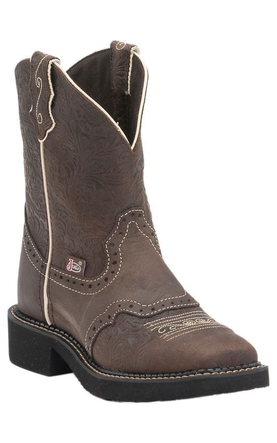 Justin Gypsy Collection Women's Brown Flower Embossed Perfed Saddle Vamp Square Toe Boots