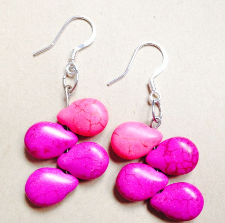 Beauty from ashes.  Pink tear shaped beads.  Sterling silver earring hooks. Only $20 at www.sozojewellerydesigns.com