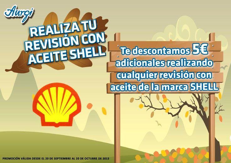 Se ha ampliado la oferta hasta el 21 de noviembre - Oferta especial con descuento adicional realizando cualquier revisión de coche con aceite de la marca Shell - Otoño 2013 (del 20 de septiembre al 20 de octubre). Más info en http://www.aurgi.com/index.php/ofertas
