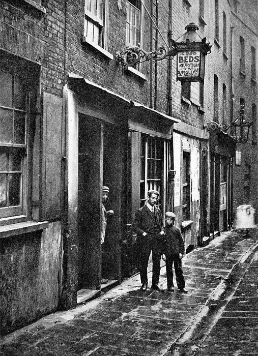 Lodging (or 'Doss') House on Paternoster Row, c1900. Many of the poorest people had to sleep in such overcrowded common houses for about 6d per night.