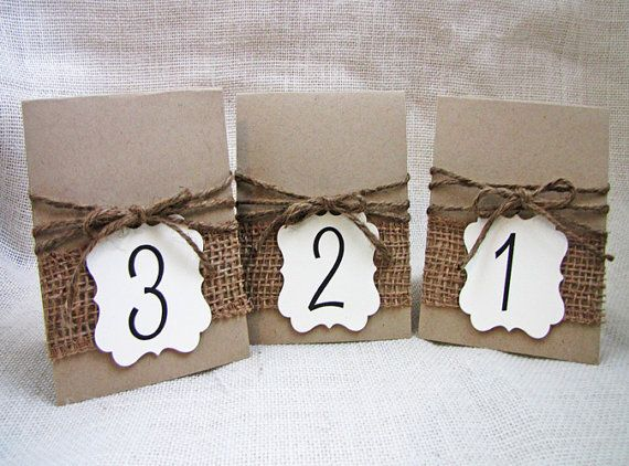 Juta e tela rustica spago Wedding Party tabella numeri Set di