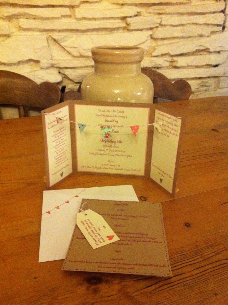 Homemade bunting wedding invites x #weddinginvites #wedding #springwedding #weddingfete #bunting #pretty #kraftcard #specialday