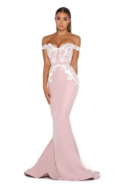 9554a56a3719 Portia & Scarlett Levan long pink bodycon style formal gown with off  the shoulder sleeve