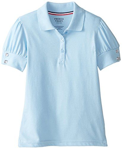 French Toast Little Girls Puff Sleeve Polo Shirt Light Blue  Small/6/6x