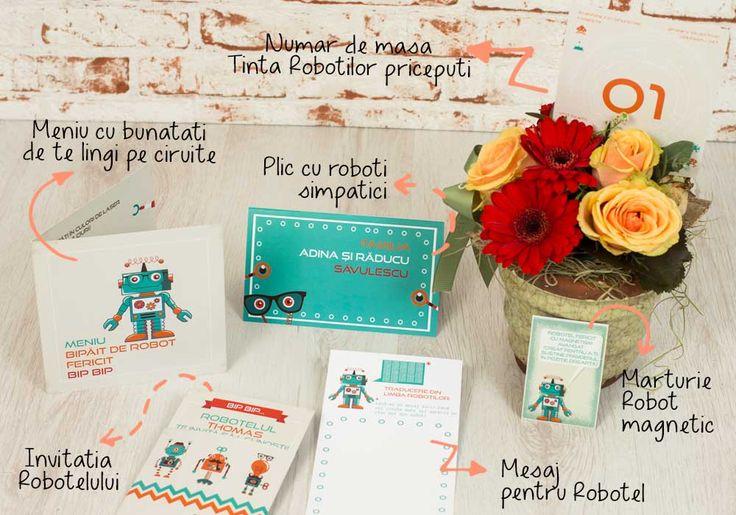 The Funny Robot - un pachet creat special pentru botezuri colorate si amuzante. Roboteii nu-s numai foarte simpatici, sunt si extrem de isteti si ii vor captiva pe oaspetii vostri. Elementele acestui set - invitatia de botez, numerele de masa, place cardurile, meniurile, mesajele pentru bebelus si marturiile - au un design in culori captivante si desene vesele.
