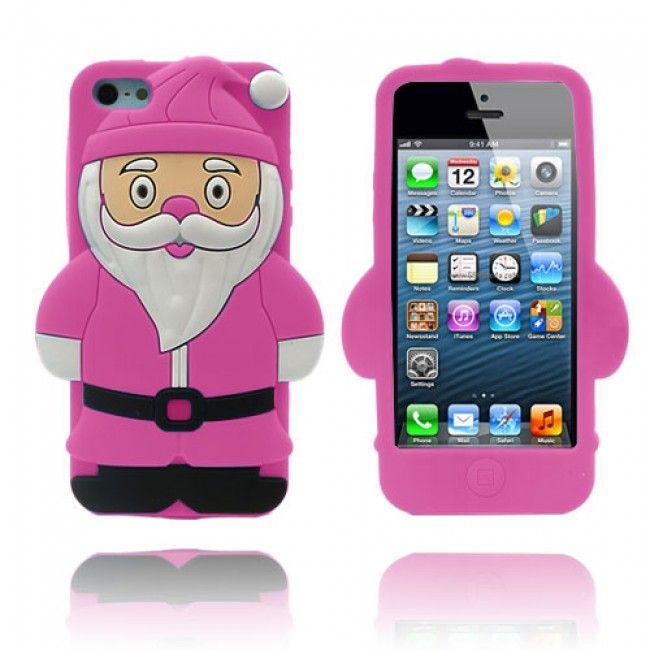 Santa iPhone 5/5S Suojakuori (Pinkki) - http://lux-case.fi/santa-iphone-5-5s-suojakuori-pinkki.html