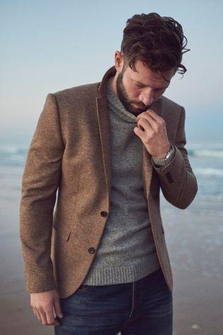 Tan Nep Textured Suit: Skinny Fit Jacket