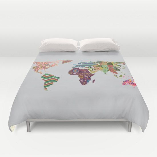 World Map Bedding, World Map Decor, World Map Bedroom Decor, World Map Duvet Cover, Bedroom Decor, Home Decor Global Map Bedspread $125