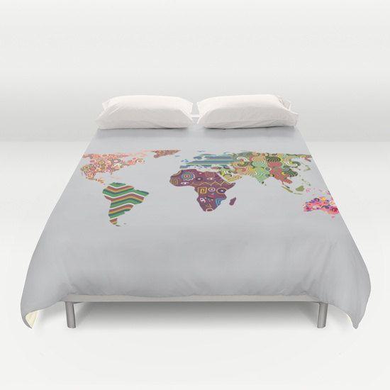 World Map Bedding World Map Decor World Map Bedroom by iQstudio
