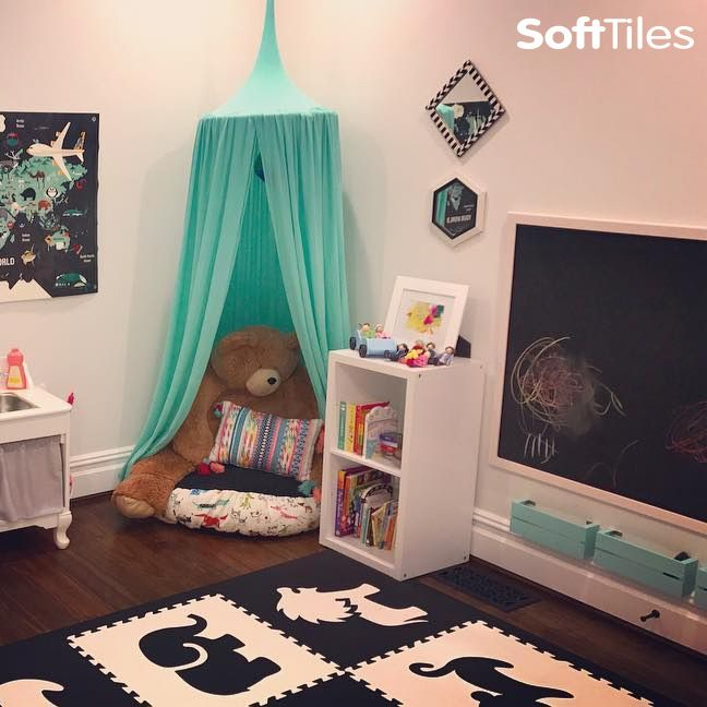 SoftTiles Safari Animals Play Mats in Black White are the perfect flooring for designer playrooms.