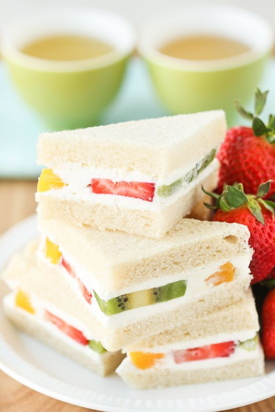 (2) When people think of tea sandwiches, savories often come to mind. But have you ever had a sweet tea sandwich? Among sweet tea sandwiches, Fruit San… | Pinterest