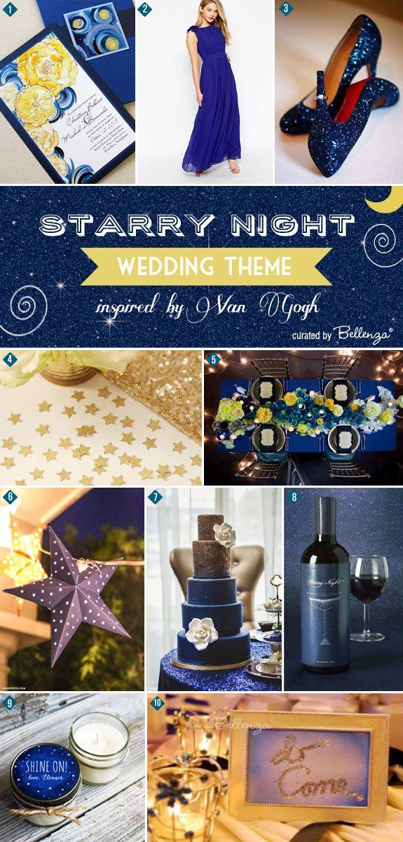 Romantic and mesmerizing! Starry Night by Van Gogh wedding inspiration board of ideas | www.bellenza.com