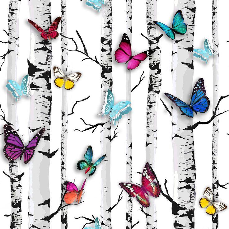 Emperor's Garden Butterfly Butterflies on Birch Tree Wallpaper
