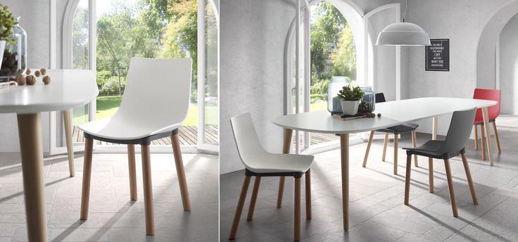 Table Oqui extensible ovale 140-220 cm, naturel et blanc ...