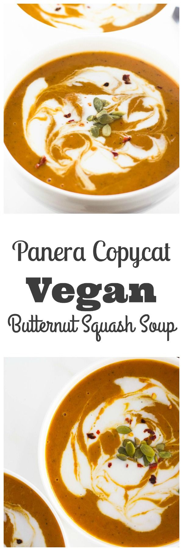 Buttenut squash is a fall favorite. Panera's butternut squash soup is deliciously decadent and full of flavor. Meet its rival! My vegan butternut squash soup is delicious and guilt free!