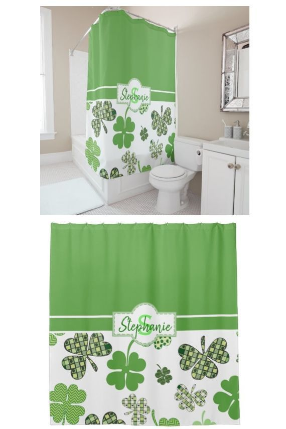 Personalizable St Patrick S Day Green Clover Shower Curtain Clover