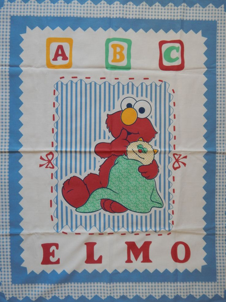 Elmo Fabric Panel For Quilting Crib Blanket/Sesame Street Baby Quilt Decoration Door, Wall Hanging by RedWickerBasket on Etsy
