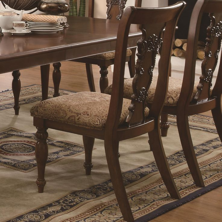 Coaster Furniture   Addison Traditional Splat Back Side Chair With  Upholstered Seat (Set Of   103512