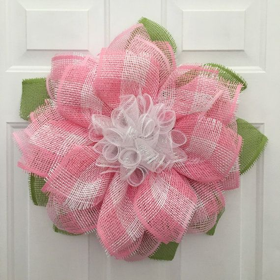 Pink Flower Wreath, Babies Room Decor, Mother's Day Gift, Paper Mesh Flower Wreath, Spring Wreath, Ladies Gift
