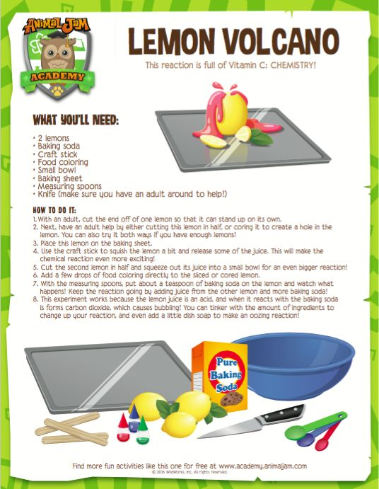 Get crazy with some chemistry and  make your own LEMON VOLCANO! Get all the details by downloading this free printable from Animal Jam Academy! Have fun and PLAY WILD!