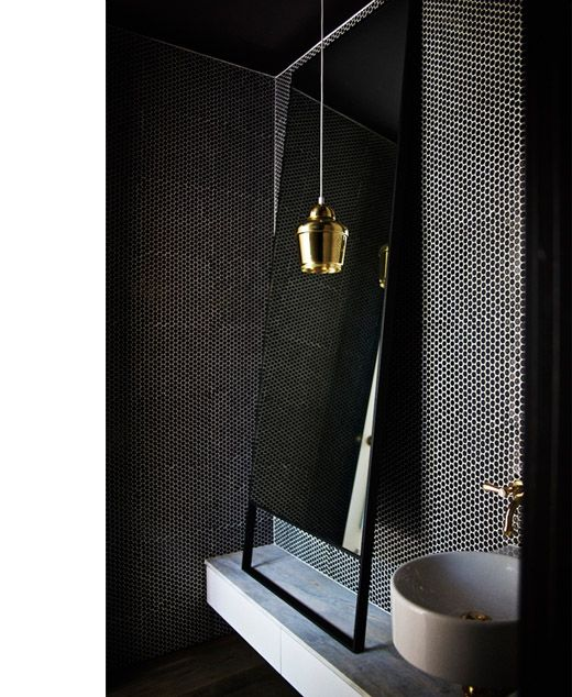 design by Wonder in Melbourne. Mirror -Maxalto (psiche simplice collection), Artek pendant light, Perrin and Rowe tapware, Parisi basin, Academy tiles - penny rounds black