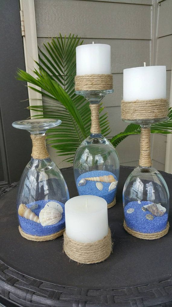 Seashell and Sand Wine Glass Candle Holders (Set of 3