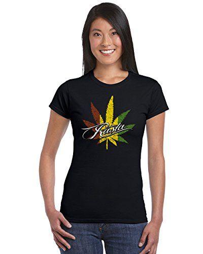 Marijuana Leaf Rasta Pattern Women's T-Shirt Cool Weed Smoker Shirts