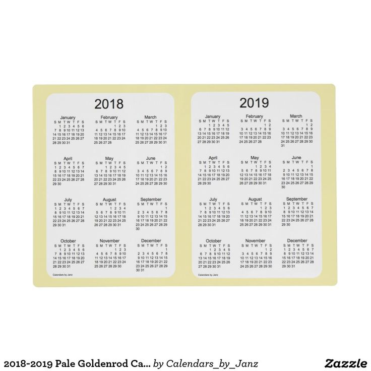 2018-2019 Pale Goldenrod Calendar by Janz Placemat