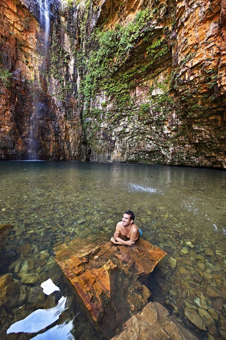 Emma Gorge, El Questro National Park, Western Australia. Hidden amongst butterfly-filled trees and vines you'll find the green/blue hues of Emma Gorge's waterhole, an ideal setting for a refreshing swim!