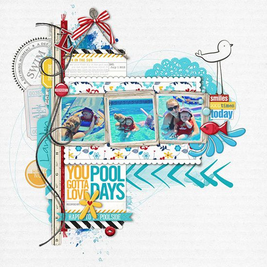 POOL DAYS by {Kayleigh}. Kayleigh is such a master at using lots of elements in a purposeful way without overpowering a page. I love her use of color and design on this layout.