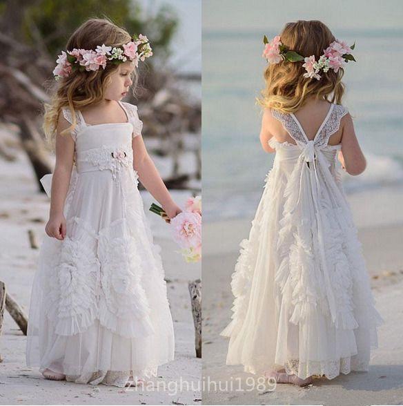 White Tulle Boho Flower Girl Dress Beach Wedding Princess Pageant