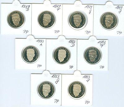 BRD 2 DM Kurt Schumacher 1979 - 1993 PP (206 7/2€ coins