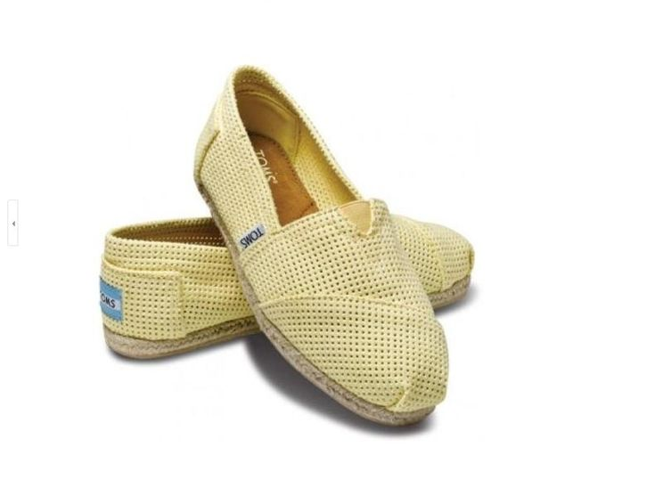 Toms Womens Cutout Rope Sole Classics Shoes Yellow