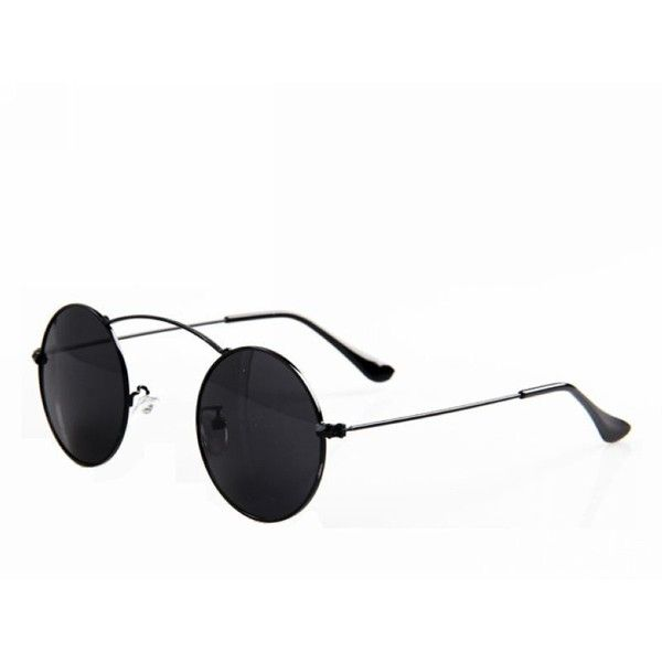 Classic Punk Round Shape Metal Top Bar Sunglasses Black/Gray ($12) ❤ liked on Polyvore featuring accessories, eyewear, sunglasses, nose pads glasses, metal glasses, clear sunglasses, clear round glasses and round glasses